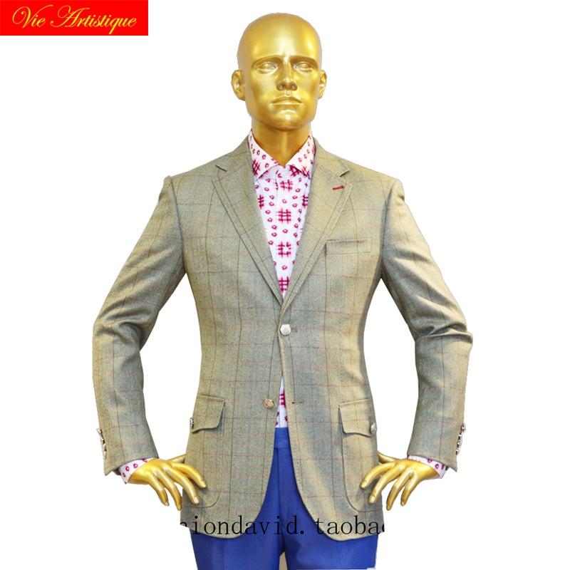 Custom Tailor Made Men's Bespoke Suits Business Formal Wedding Ware Bespoke 2 Piece Jacket Coat Pant Olive Window Plaid Wool
