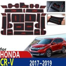 Antideslizante de caucho taza cojín esteras con surcos para puerta para Honda CRV CR-V CR V 5th Gen V 2017, 2018, 2019 para teléfono