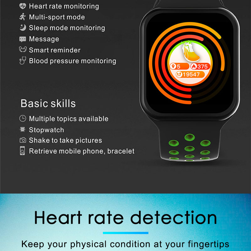 F9 s PK iwo8 b57 Touch Screen smart watches to Monitor Heart rate and Blood pressure Supported for IOS Android for men women 10