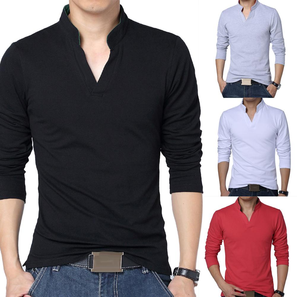 2019 Tshirt Men FitnessSolid Color Men Plus Size Stand Collar V Neck Long Sleeve T-Shirt Slimmed Fit Top