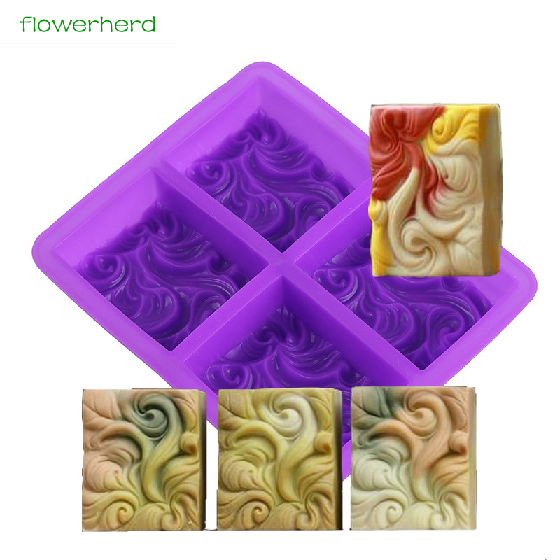 Abstract Pattern Silicone Soap Mold Handmade DIY Craft Wave Rectangular 4 Cavities Molds for Making