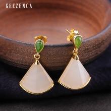 925 Sterling Silver Gold Plated Fun-shaped Hetian Jade Stud Earring Trendy Vintage Original Design Earrings Fine Jewelry Women
