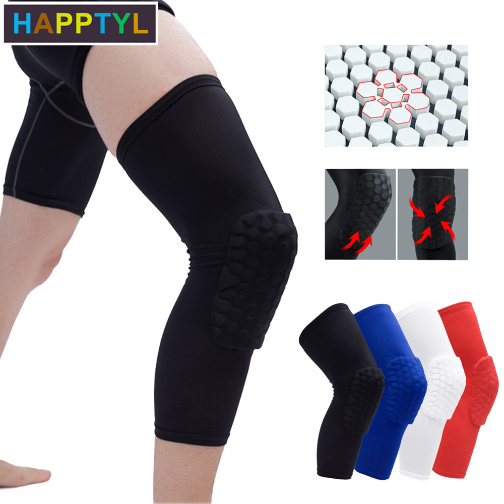 HAPPTYL 1Pcs Knee Support Brace Pads Honeycomb Knee Pads, Extended Compression Leg Knee Sleeve With Protective Hexpad Perfect