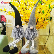 INTEGRITY 1pcs Cute Christmas Decoration Sitting Long Leg No Face Elf Doll Decorations For Home 2021 New Year Gift for Kids