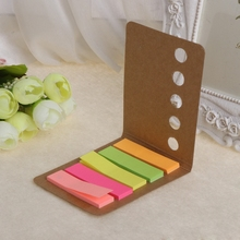 5 Pads/Pack Kraft Paper Cover Candy Color Sticky Notes Page Marker Index Tabs L41E