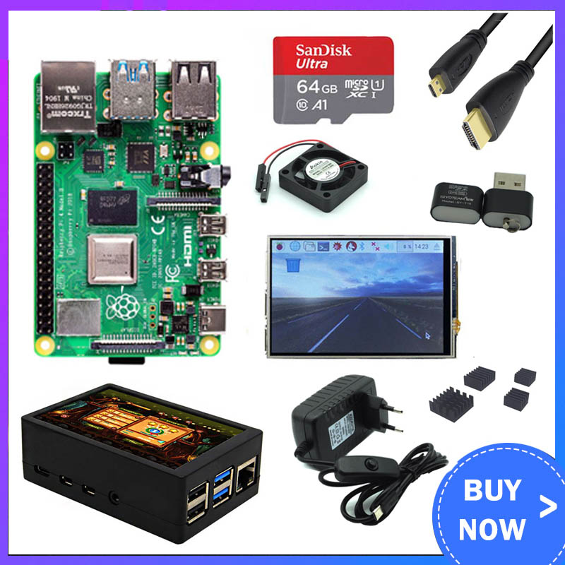 Raspberry Pi 4 Model B 2GB/4GB Kit Board + Power Adapter + Case Box + 32/64GB SD Card + HDMI Cable + Heatsink for Raspberry Pi 4