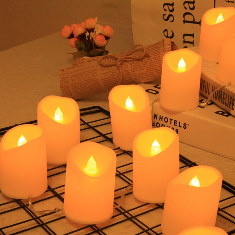 10PCS Electronic LED Tea Light Candles Realistic USB Flameless Candles For Home Bedroom Party Wedding Festival Decor