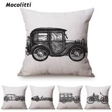 Funda de almohada decorativa de forma cuadrada con bocetos a mano funda de cojín de coches clásicos para sofá decoración del hogar almofadas 18
