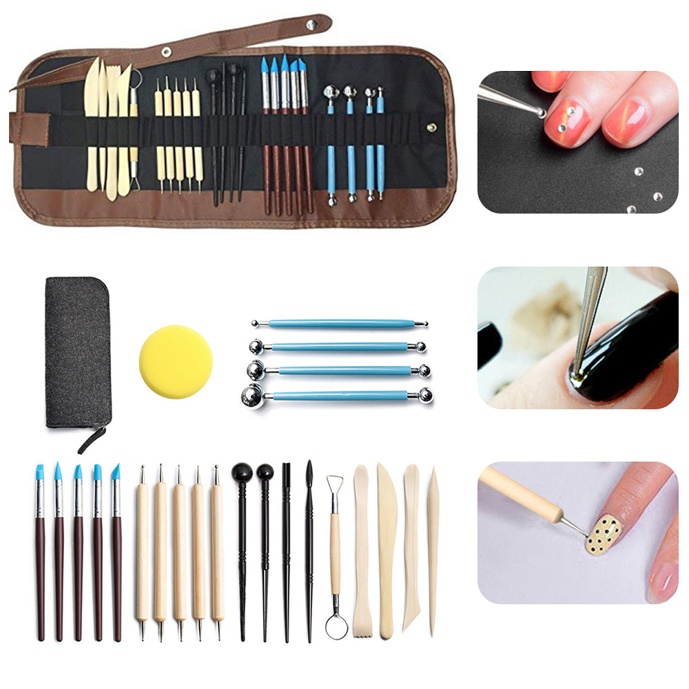 24pcs Sculpting Carving Set Pottery Ceramic Wood Handle Clay Craft Kits For Polymer Clay Potter Professional Clay Wax Tools