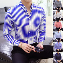 Man Tops Striped Shirts Male Wear Slim Full Sleeve Man Casual Shirts Street Mens Office Wearing Smart Casual Shirts Basic Style(China)