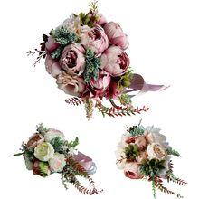 Romantic Bridal Bridesmaid Wedding Bouquet Waterfall Artificial Flower Fake Succulent Long Ribbon Retro Luxury Party Decoration