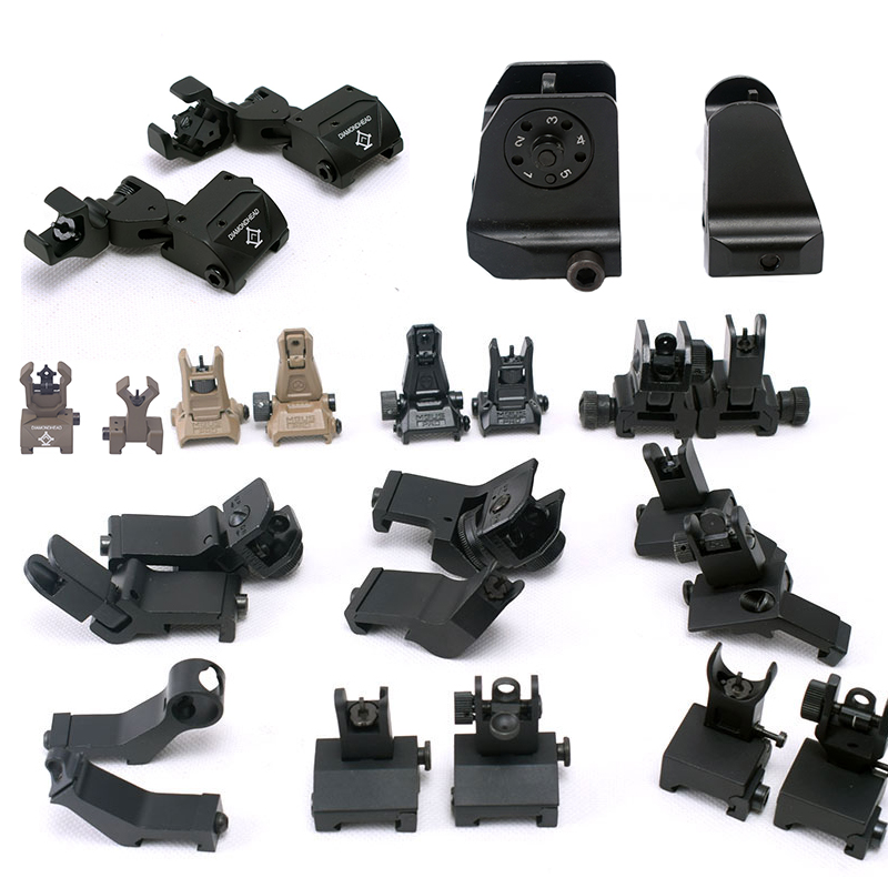Hunting AR15 A2 Design Airsoft Fixed Front Rear Iron Sight Handguard 45 Degree Angle Offset Side Backup Iron Sight