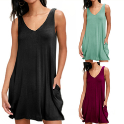 Summer Large Women's Loose Sling Pocket Fashion Casual Solid Color Dress
