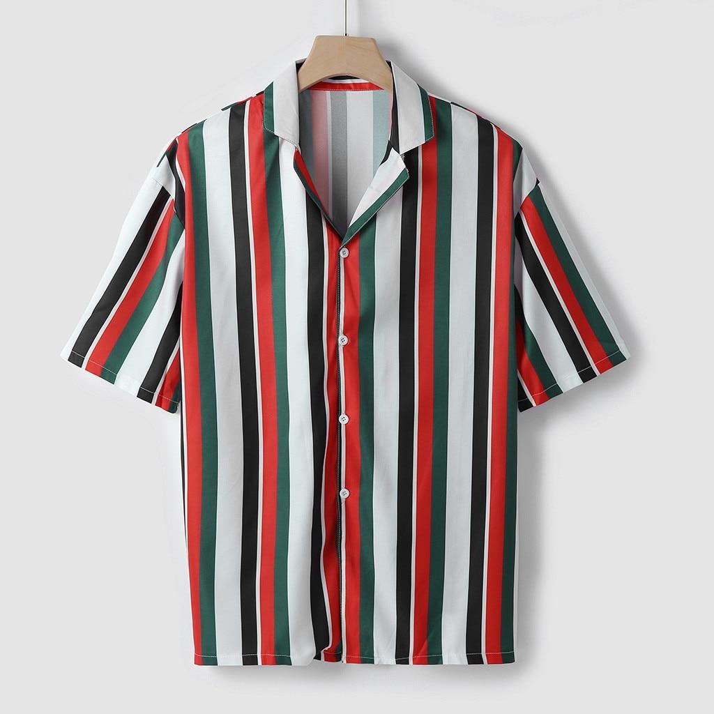 Men Shirts Mens Striped Shirt Short-Sleeve Shirts  3
