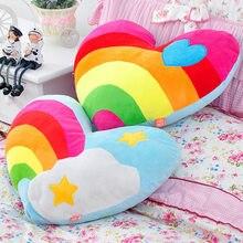 Rainbow Loving Heart Cloud Heart-shaped Couple Fluffy Cushion Soft Plush Pillow Valentine's Day Birthday Present Smooth Fabric