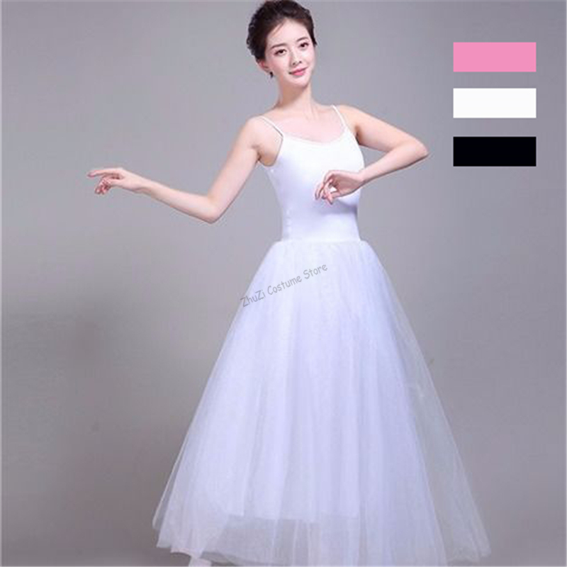 White Black Swan Lake Ballet Costume For Women Adult Romantic Classical Professional Long Tutu Dress Gymnastics Leotard For Girl
