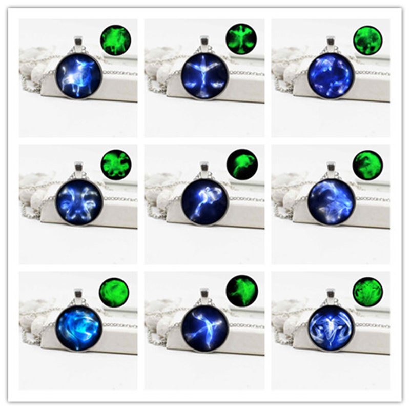 New retro luminous silver plated necklace 12 constellation pendant jewelry accessories