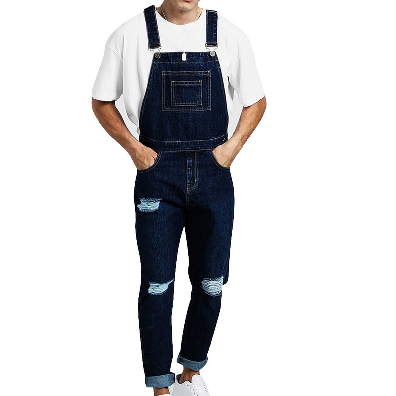 Autumn Brand Men Vintage Jeans Jumpsuits Fashion High Street Distressed Ripped Denim Bib Overalls Jeans Suspender Pants