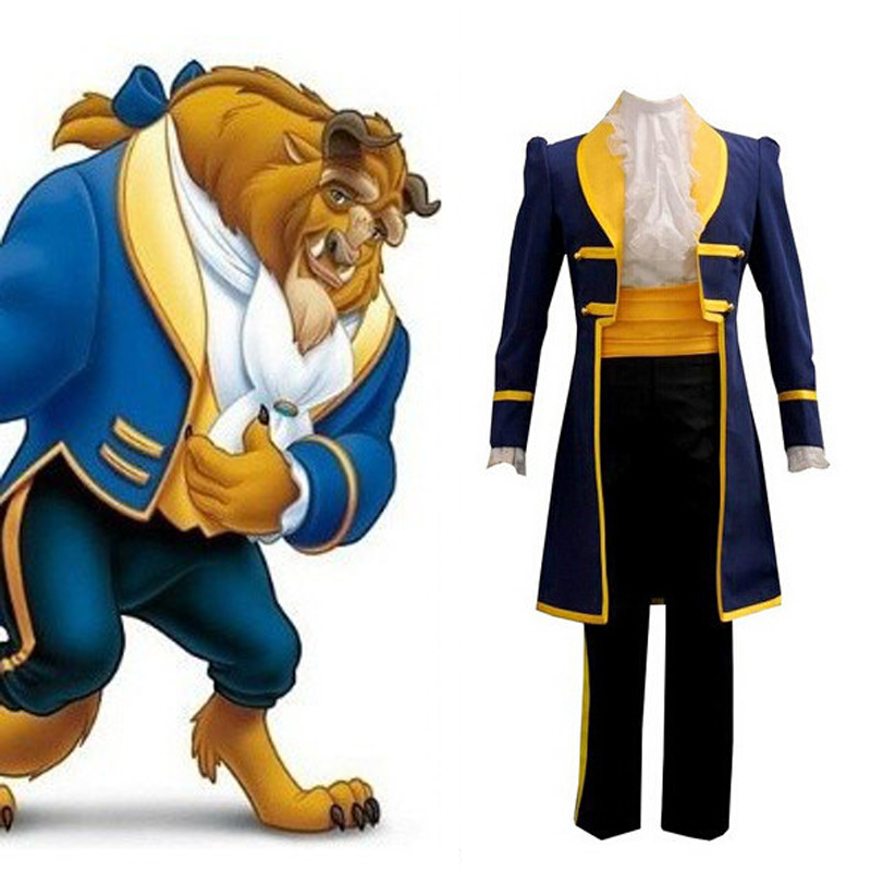 Beauty And The Beast Cosplay Costume Adult Halloween Party Men Women Fancy Dress Movie Prince Beast Costume For Men Mask Cosplay