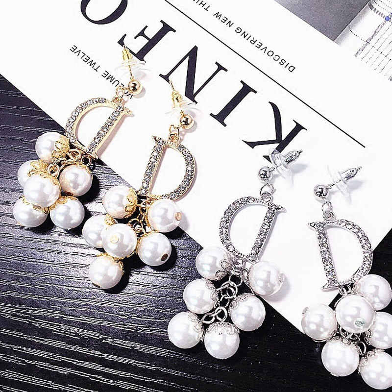 Luxury Brand Long Pearl Drop Earrings For Women Crystal Letter D Earring Female Wedding Fashion Jewelry oorbellen 2020 brincos