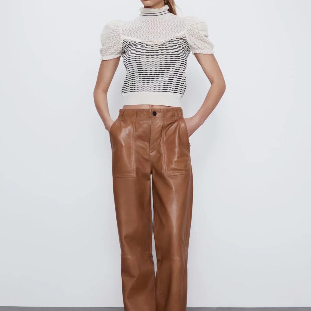 2020 new summer women striped combination high collar short sleeve sweater ruffle trim Contrasting fabric female sweater|Pullovers|   - AliExpress