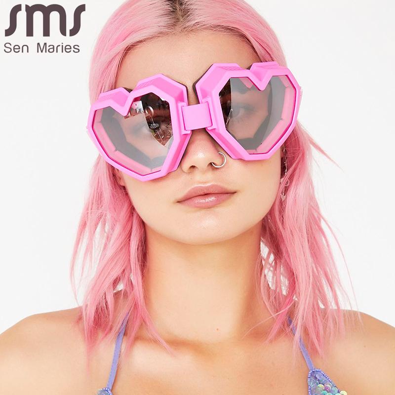 Heart Shaped Goggle Sunglasses One Piece Women Sunglasses Oversized Gradient Lens Brand Designer Eyeglass Oculos De Sol Feminino