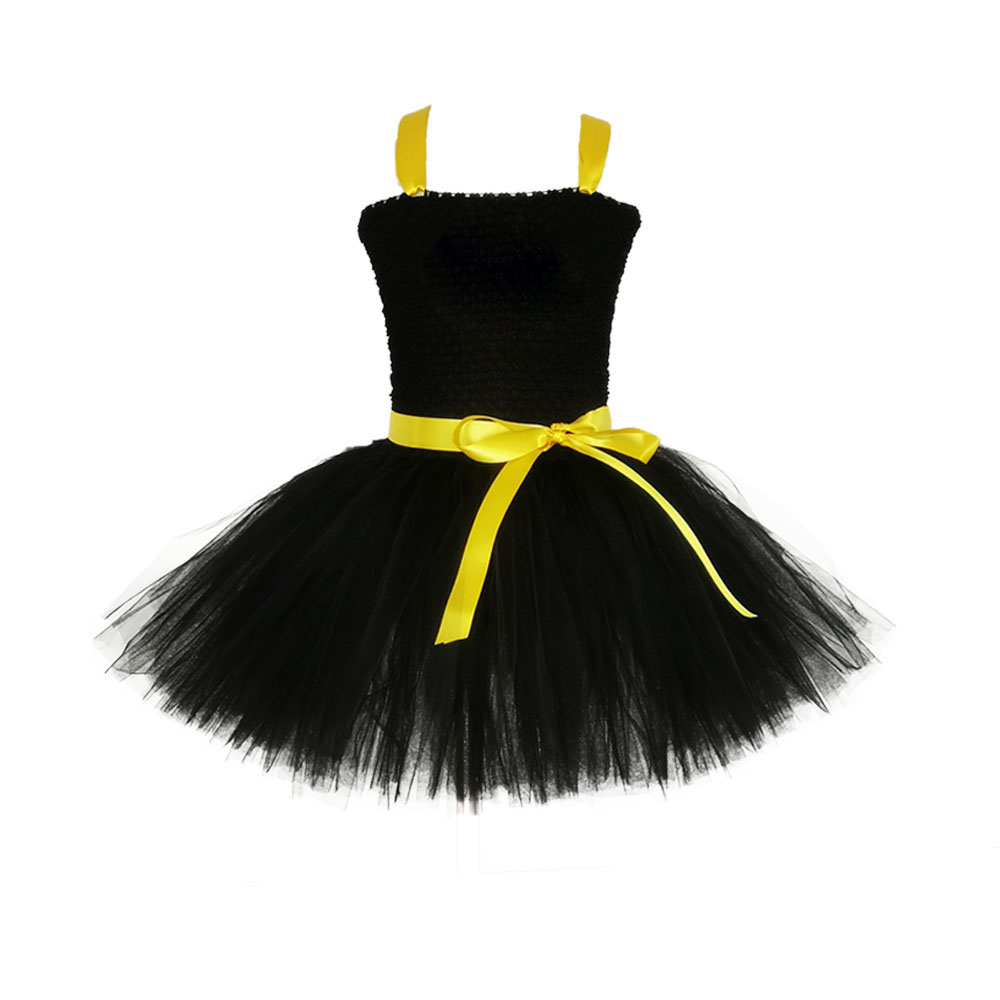 Image 2 - 1 14Y Black Girl Batman Tutu Dress Knee Length Bat Girl Birthday Halloween Cosplay Costume For Photos Baby Kids Clothes Set-in Girls Costumes from Novelty & Special Use
