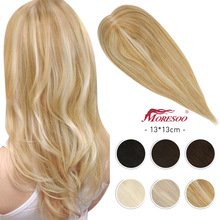 Hair-Toppers Human-Hair Moresoo Toupees-Machine Natural Women for Clips 13--13cm Straight