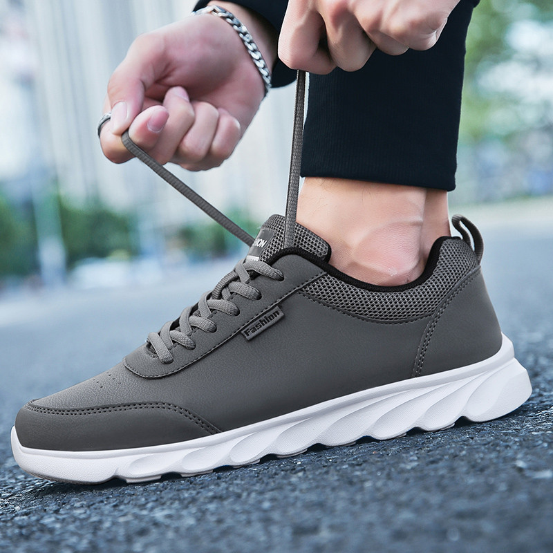Image 3 - PU Leather Casual Shoes Mens Sneakers Men Lace Up Spring  Arrival Breathable Leisure Footwear Board Shoes Males Adult MasculinoMens Casual Shoes   -