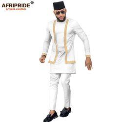 2020 africano Set di Abbigliamento Da Uomo Vestito Vestito di Pantaloni 3 Pezzi per Gli Uomini Camicia Dashiki Ankara Tribale Cappello Tuta AFRIPRIDE A1916016