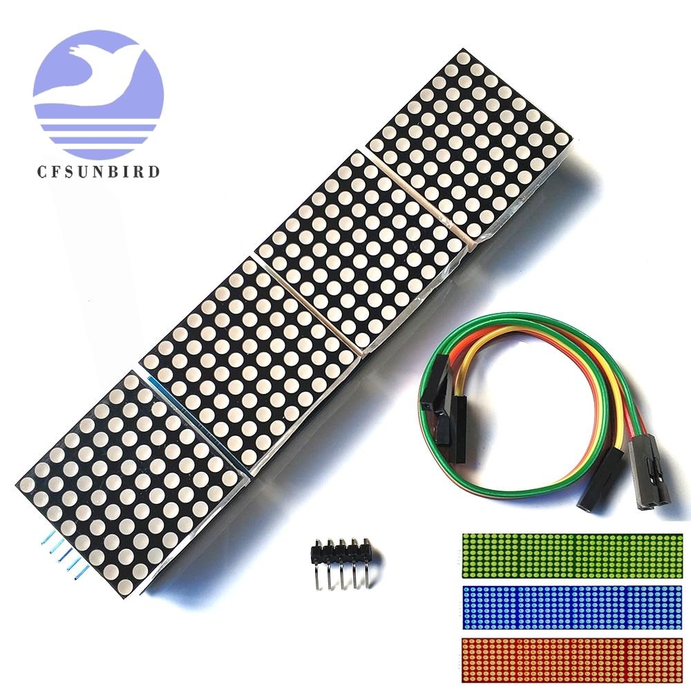 MAX7219 матричный модуль микроконтроллер 4 в одном дисплей с 5P линия 4 в 1 красный/зеленый