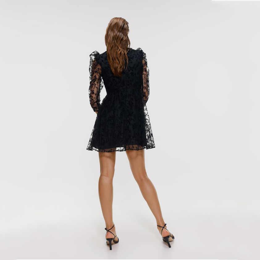 Za 2019 otoño nuevo vestido negro calado de encaje moda occidental ropa de mujer Casual vestido Delgado fiesta Vacaciones de boda venta al por mayor