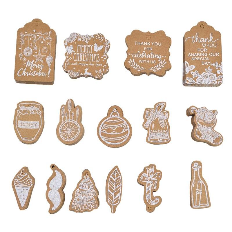 30pcs Kraft Paper Christmas Tags Gift Shop Hang Tag DIY Craft For Xmas Party Christmas Gift Cake Box Wrapping Supplies Labels