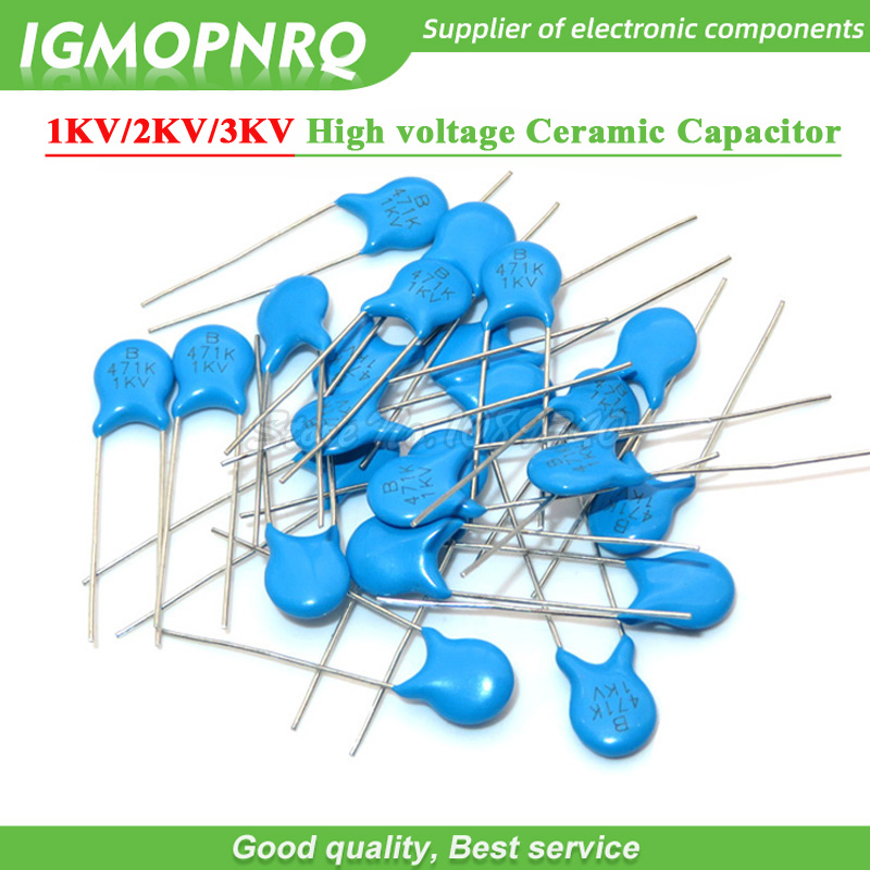20pcs High Voltage Ceramic Capacitor 1KV 2KV 3KV 5PF 30PF 47PF 56PF 100PF 220PF 1NF 2.2NF 3.3NF 4.7NF 10NF 100NF 471 222 223 103