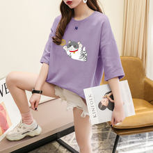 2021 chique coreano estampa dos desenhos animados camiseta feminina verão solto casual de manga curta doce menina meia manga superior soild bonito gato