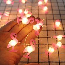 2m dos desenhos animados flamingo luzes da corda de fadas arco-íris elefante ano novo iluminação do feriado garland decoração para casa baterias lâmpada festa