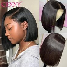 Perucas de bob curto em linha reta frente do laço perucas de cabelo humano para as mulheres pré arrancar com o cabelo do bebê 13x4 peruca dianteira do laço glueless peruca do laço remy