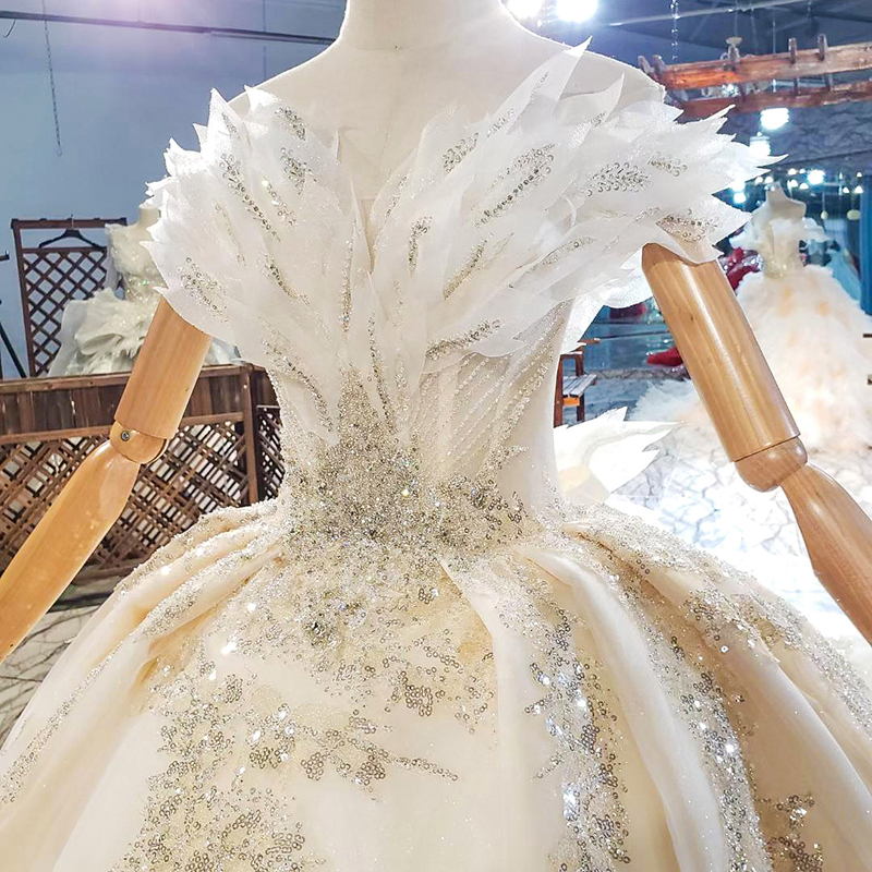 HTL1818 Sequined Beading Wedding Dress 2020 Short Sleeve Applique Ball Gowns Boat Neck Lace Up Back Off The Shoulder 5