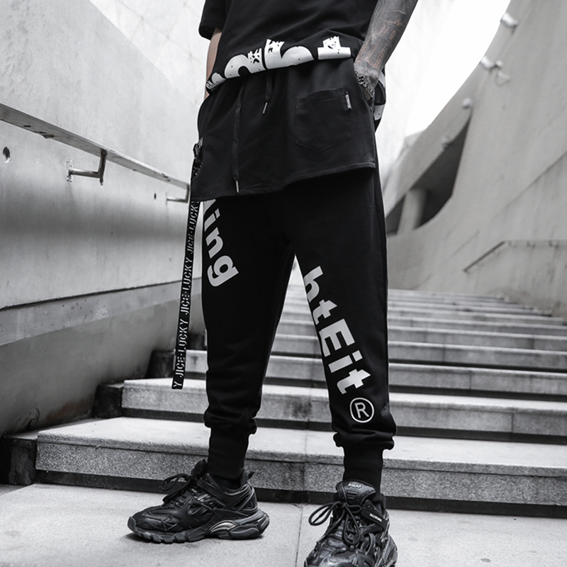 2020 HOT Printed Street Fashion Mens Joggers Sweatpants Hip Hop Printed Casual Harem Trousers Streetwear Elastic Ankle-Length