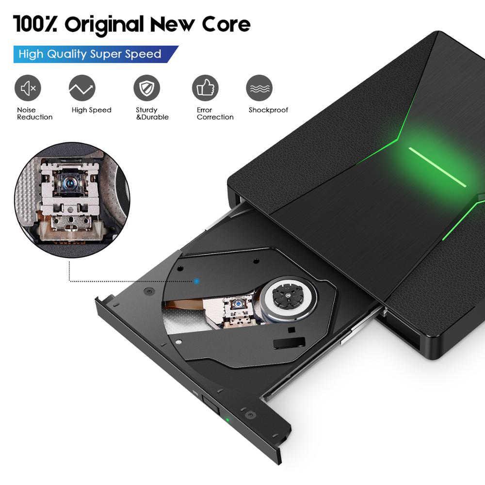 Kuwfi USB 3.0 Tipe C Portable Kecepatan Tinggi Dvd +/RW Burner dengan Warna-warni Lampu DVD Dirve Pemain untuk MacBook/Jendela OS Komputer