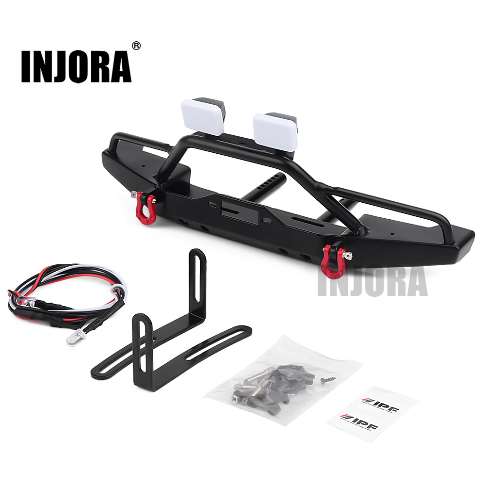 INJORA Metal Front Bumper With LED Lights For 1/10 RC Rock Crawler Axial SCX10 & SCX10 II 90046 TRAXXAS TRX4 TRX-4