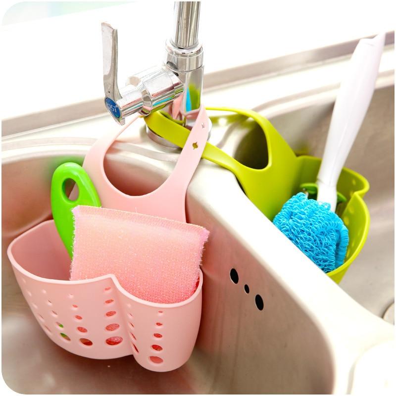 Adjustable Stud Sink Storage Hanging Basket Kitchen Shelves Tap Sponge Draining Shelf Sleeves