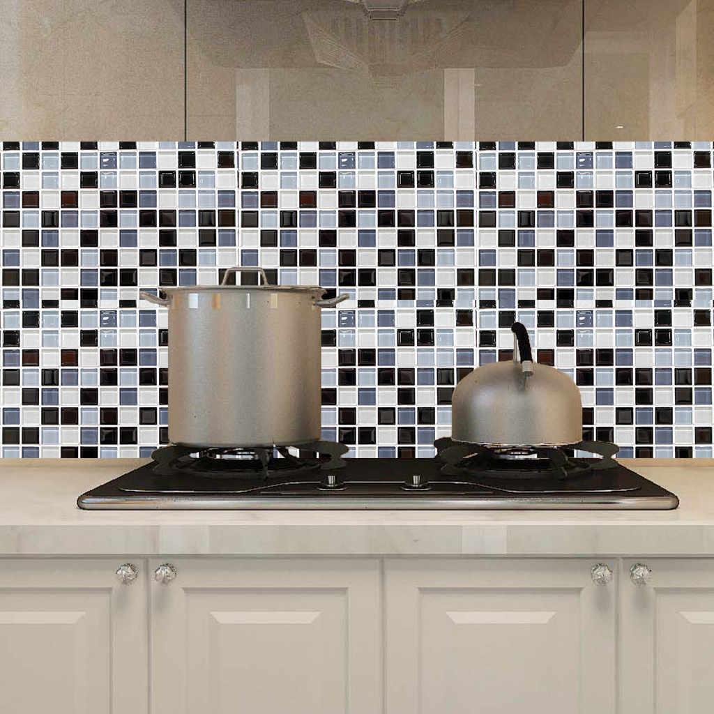 self adhesive mosaic tile sticker kitchen backsplash bathroom wall tile stickers decor waterproof peel stick pvc tiles anti tile