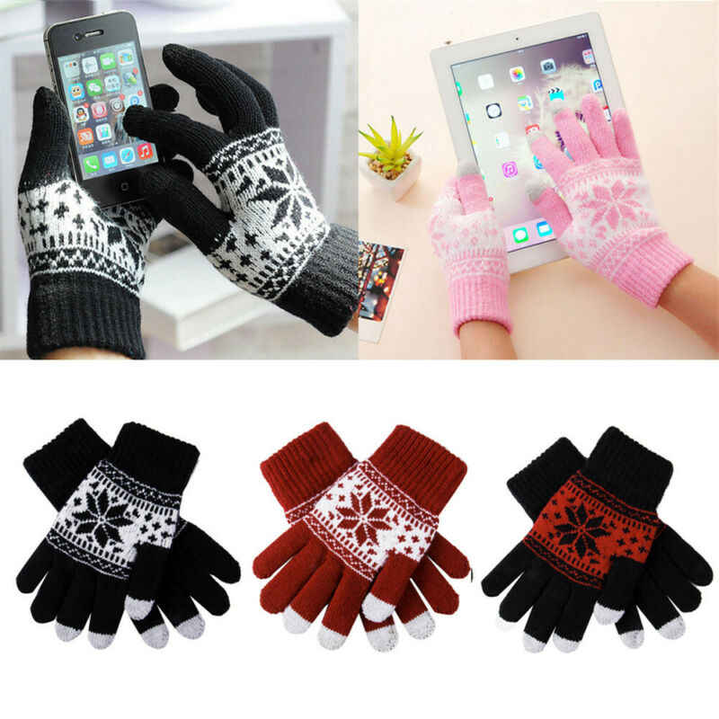 Adults Unisex Winter Knit Gloves Touch Screen Gloves Full Finger Mittens Snowflake Print Cotton Gloves Women Men Xmas Gift