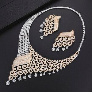 Image 3 - GODKI luxe grimpeur fleur femmes nigérian mariée Naija mariée cubique zircone collier Dubai 4 pièces bijoux ensemble bijoux dépendance