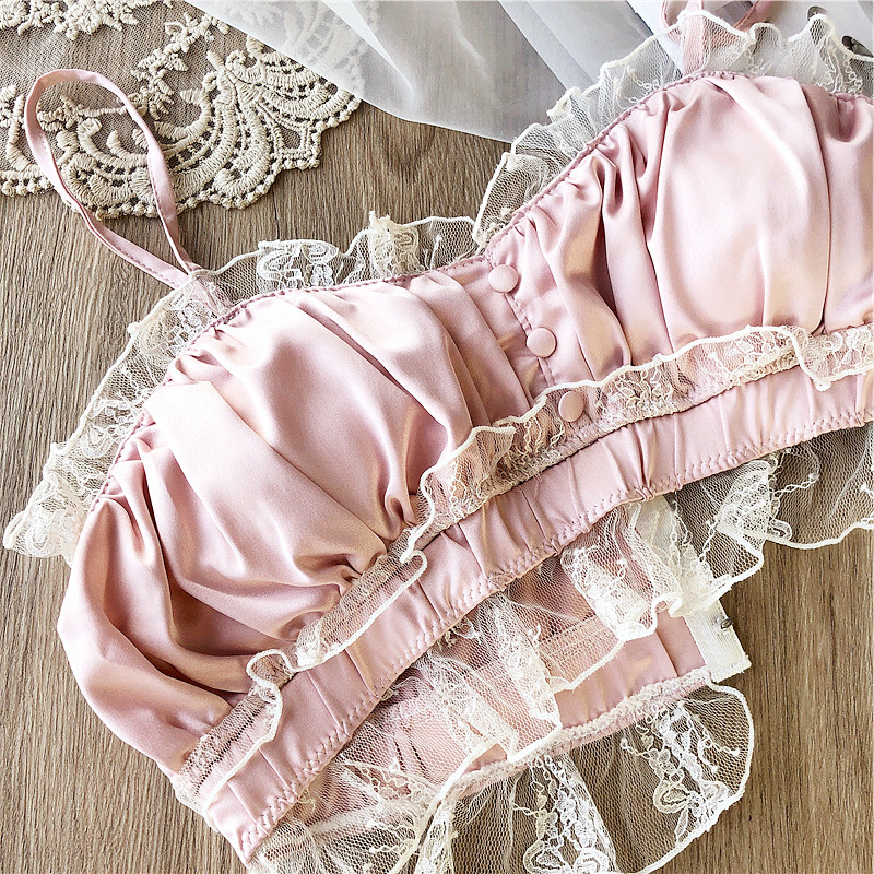 Image 3 - Wriufred Vintage satin lace wire free bandeau bra set private house sexy fairy lingerie sets nightwear cotton cup underwearBra & Brief Sets   -