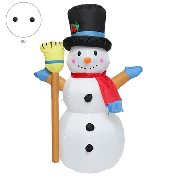 New 1.2M Christmas Snowman Colorful Rotate LED Light Inflatable Model Snowman Doll Broom Cover Christmas Decoration with Fan EU