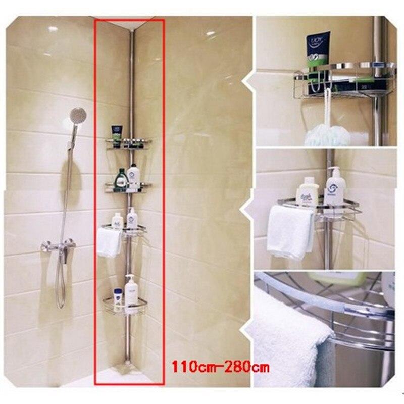 280CM Rack Organizer Storage Holder Shower Shelf Bath Supplies Bathroom Shelf Corner Telescopic Towel Rack Corner Kitchen Shelve