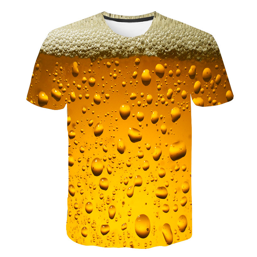 Summer Men's And Women's T-shirts 3D Beer Time Short-sleeved Novelty Water Print O Collar Top T-shirt Hilarious 3D Printed Stree