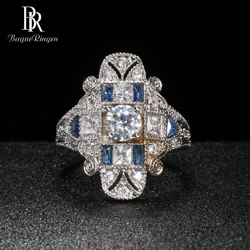 Bague Ringen Geometry Silver 925 Jewelry Gemstones Ring For Women Sapphire Ruby Exaggerated Style Female Gift Wholesale Party
